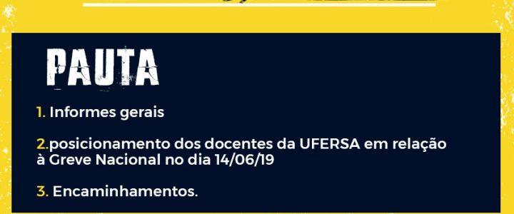 ADUFERSA realiza assembleia para discutir participação na greve geral do dia 14/06