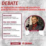 Adufersa e Sintest realizam rodada de debates sobre impactos da reforma da previdência