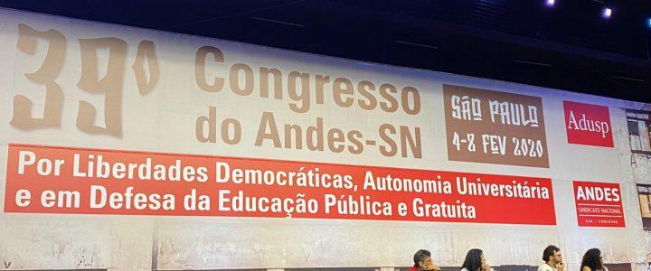 Delegação da ADUEFERSA participa do 39º Congresso do Andes/SN