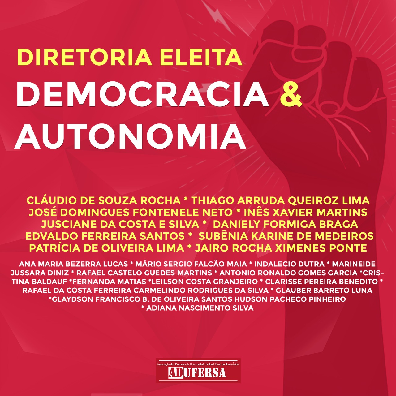 Chapa Democracia e Autonomia é eleita para dirigir ADUFERSA