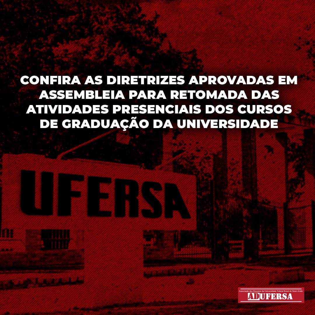 Assembleia da ADUFERSA aprova diretrizes para retomada das atividades presenciais dos cursos de graduação da Universidade